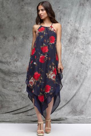 Rosette Print Maxi Dress