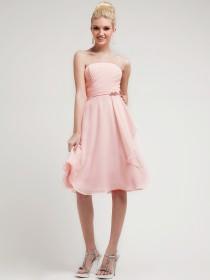 Strapless Knee Length Homecoming Dress.