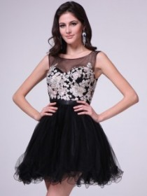 Hot and trendy illusion sweetheart homecoming dress!