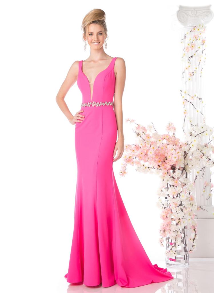 Low V-Neck Prom Dress