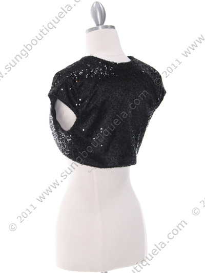 0001 Black Sequins Bolero - Black, Back View Medium