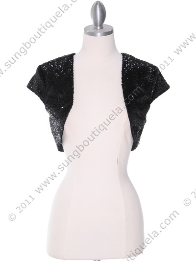 0001 Black Sequins Bolero - Black, Front View Medium
