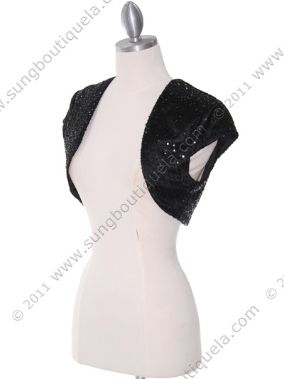 0001 Black Sequins Bolero - Black, Alt View Medium