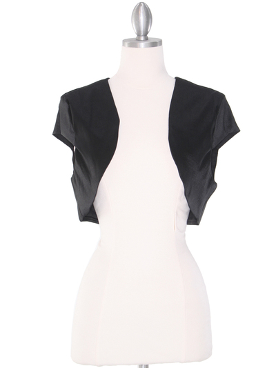 0002 Taffeta Bolero - Black, Front View Medium
