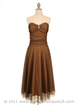 Strapless Brown Evening Dress - Front Image