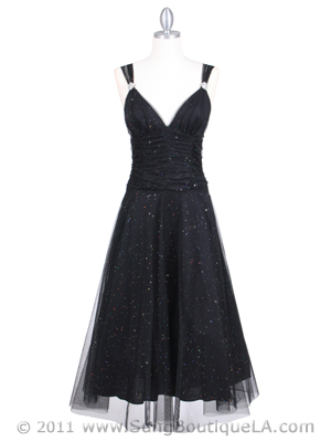 063 Black Glitter Tea Length Dress, Black