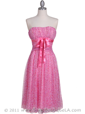 072 Pink Printed Tea Length Dress, Pink