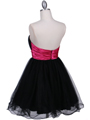 Black Fuschia Strapless Cocktail Dress - Back Image