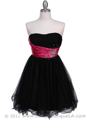 077 Black Fuschia Strapless Cocktail Dress, Black Fuschia