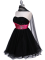 Black Fuschia Strapless Cocktail Dress - Alt Image