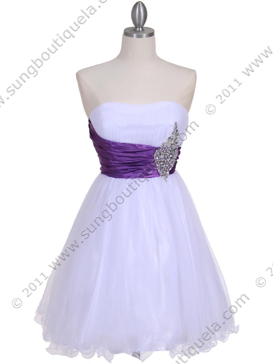 White Purple Strapless Cocktail Dress | Sung Boutique L.A.