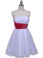 077a White Fuschia Strapless Cocktail Dress - White Fuschia, Front View Thumbnail