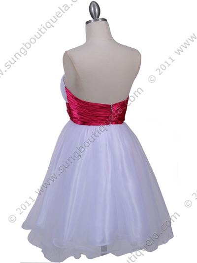 077a White Fuschia Strapless Cocktail Dress - White Fuschia, Back View Medium