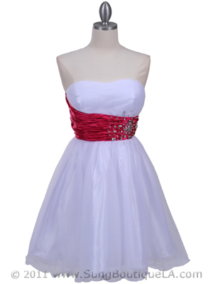 White Fuschia Strapless Cocktail Dress - Front Image