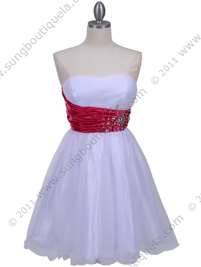 077a White Fuschia Strapless Cocktail Dress - White Fuschia, Front View Medium