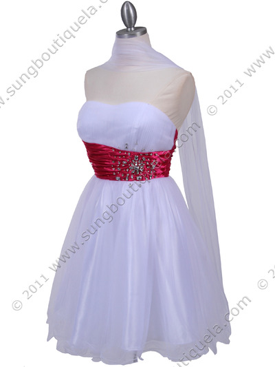 077a White Fuschia Strapless Cocktail Dress - White Fuschia, Alt View Medium