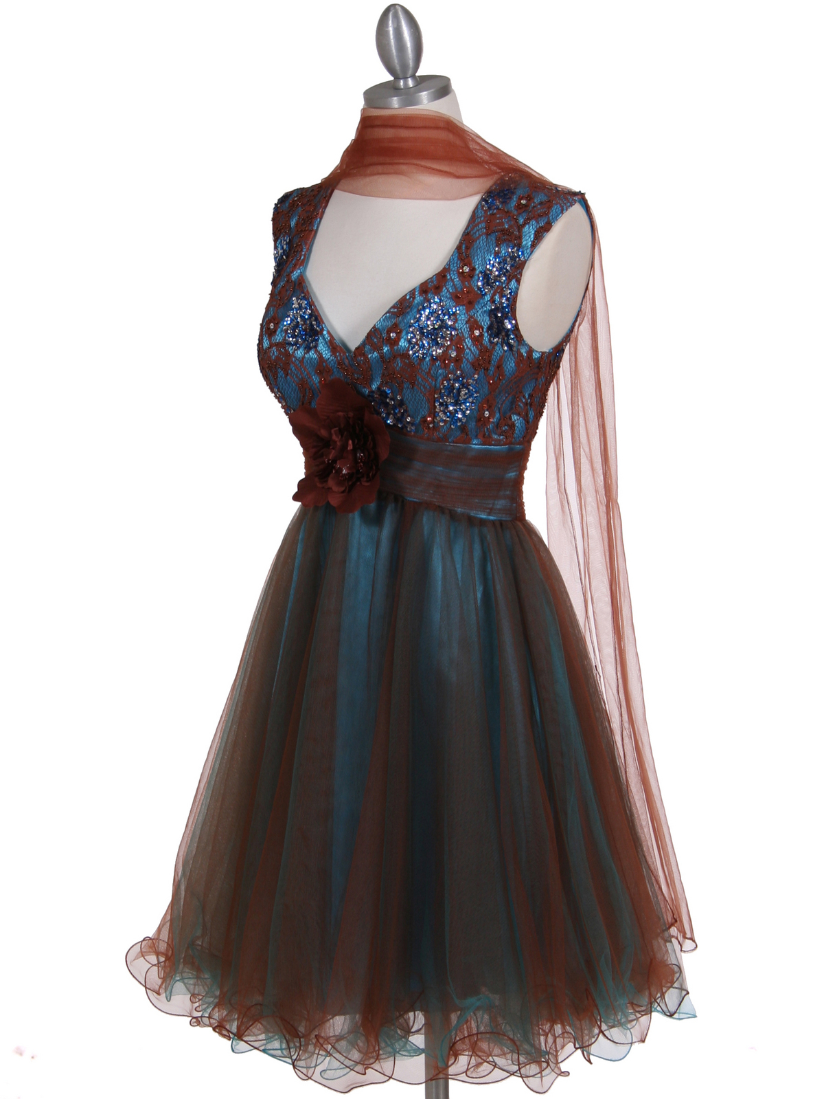 Brown Turquoise Sequins Top Cocktail Dress Sung Boutique