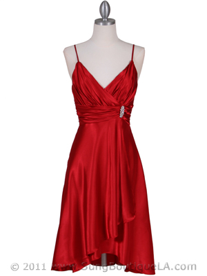 083 Red Charmeuse Cocktail Dress with Rhinestone Pin, Red