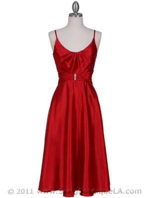 085 Red Charmeuse Tea Length Dress, Red