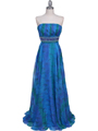 09287 Blue Printed Strapless Chiffon Evening Dress - Blue, Front View Thumbnail