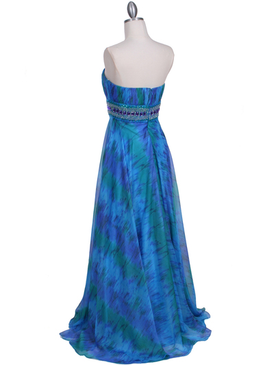 09287 Blue Printed Strapless Chiffon Evening Dress - Blue, Back View Medium