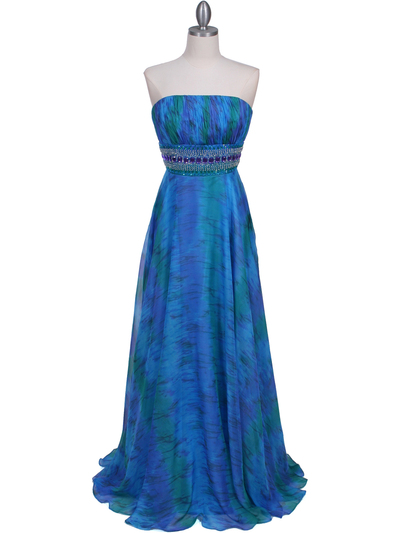 09287 Blue Printed Strapless Chiffon Evening Dress - Blue, Front View Medium