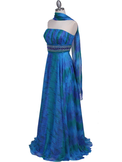 09287 Blue Printed Strapless Chiffon Evening Dress - Blue, Alt View Medium