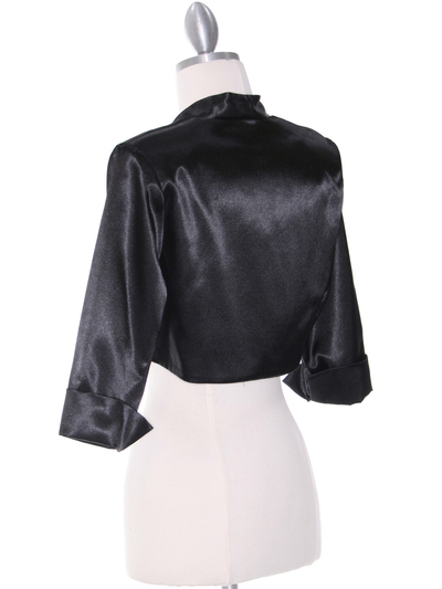 1001 Black Stretch Charmeuse Bolero - Black, Back View Medium