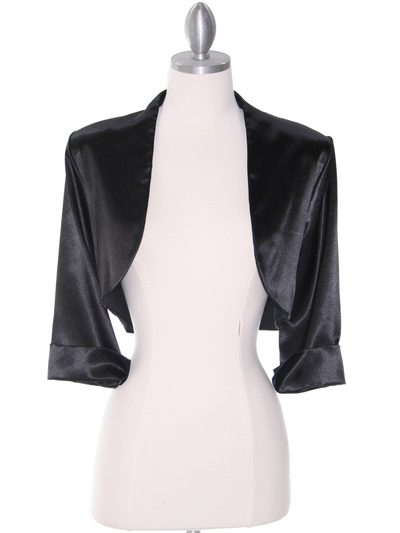 1001 Black Stretch Charmeuse Bolero - Black, Front View Medium