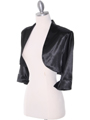 1001 Black Stretch Charmeuse Bolero - Black, Alt View Thumbnail