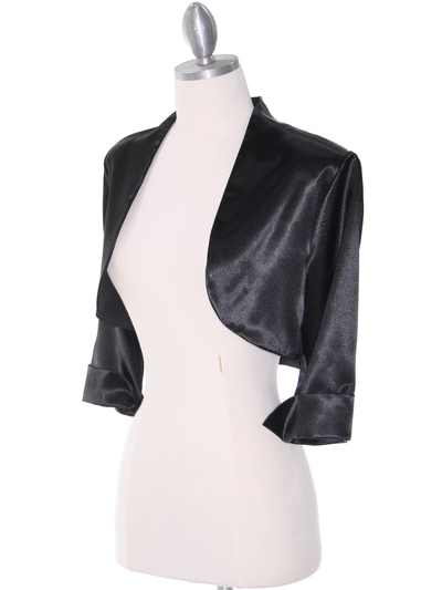1001 Black Stretch Charmeuse Bolero - Black, Alt View Medium