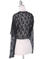 1003 Black Lace Long Sleeve Bolero - Black, Back View Thumbnail