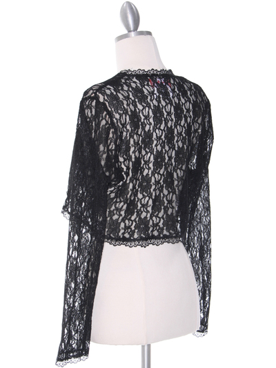 1003 Black Lace Long Sleeve Bolero - Black, Back View Medium
