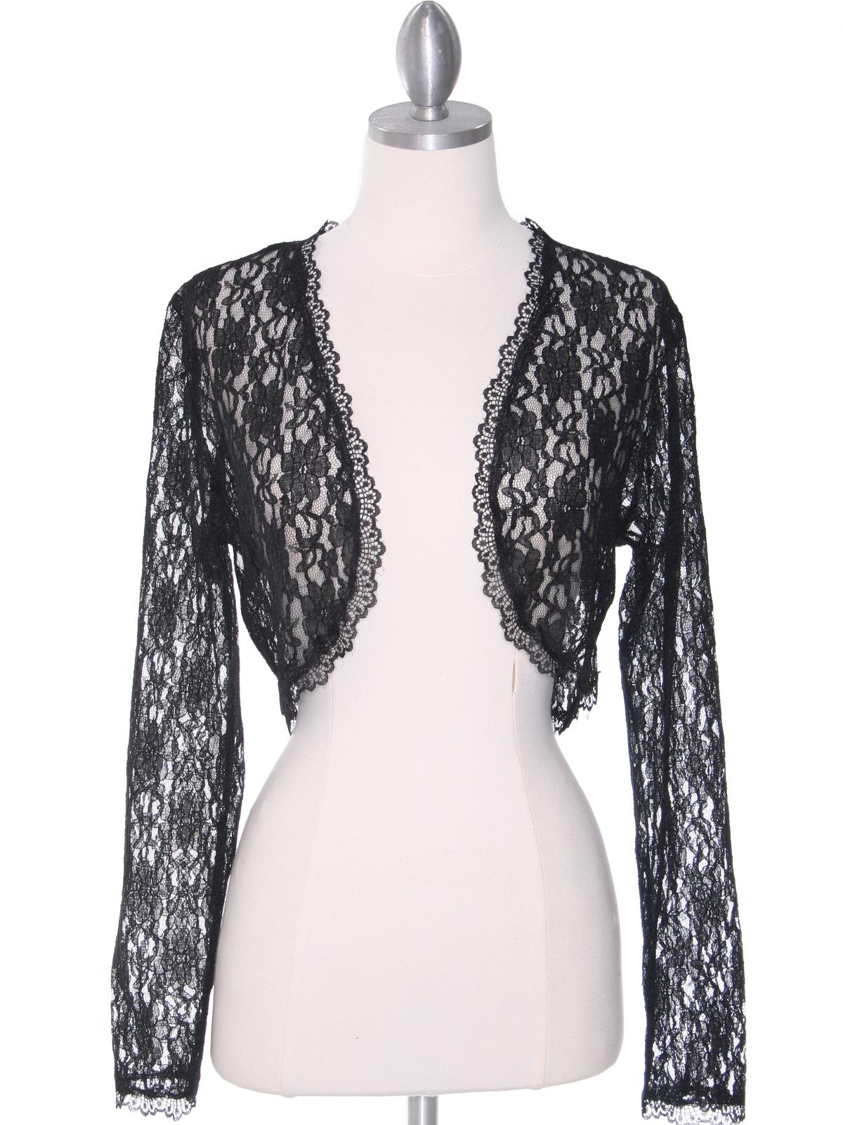 black lace long sleeve bolero sung boutique la