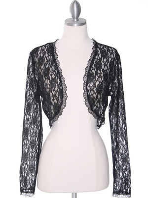 1003 Black Lace Long Sleeve Bolero, Black