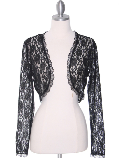 1003 Black Lace Long Sleeve Bolero - Black, Front View Medium