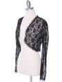 1003 Black Lace Long Sleeve Bolero - Black, Alt View Thumbnail
