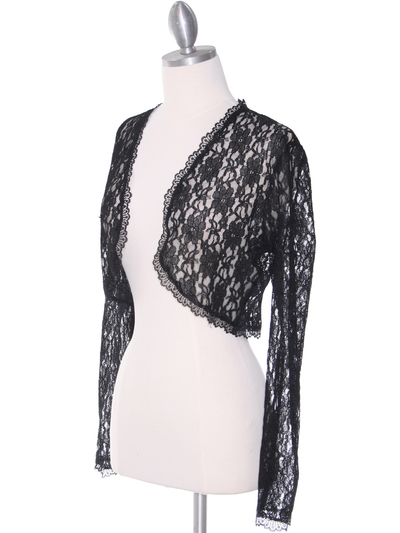1003 Black Lace Long Sleeve Bolero - Black, Alt View Medium