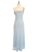 Light Blue Evening Dress with Rhinestone Pin