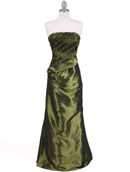 Olive Taffeta Evening Gown