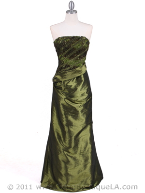 1020 Olive Taffeta Evening Gown, Olive