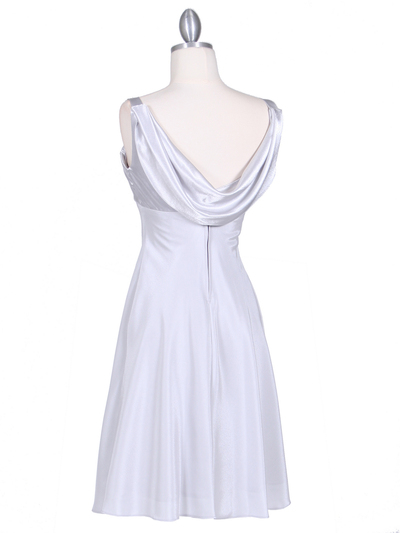 1021 Silver Satin Top Cocktail Dress - Silver, Back View Medium