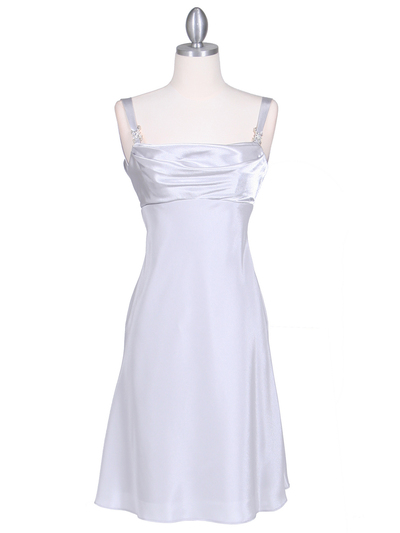 1021 Silver Satin Top Cocktail Dress - Silver, Front View Medium
