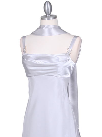 1021 Silver Satin Top Cocktail Dress - Silver, Alt View Medium