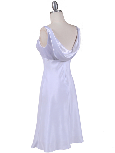 1021 White Satin Top Cocktail Dress - White, Back View Medium