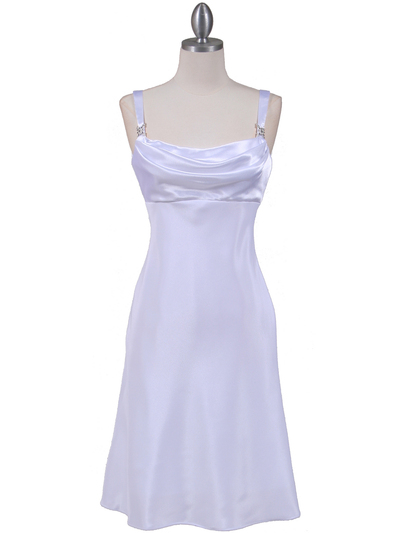 1021 White Satin Top Cocktail Dress - White, Front View Medium