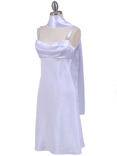 1021 White Satin Top Cocktail Dress - White, Alt View Medium