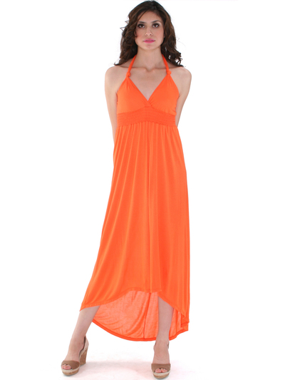 1024 Maxi Dress with High Low Hem - Orange, Front View Medium