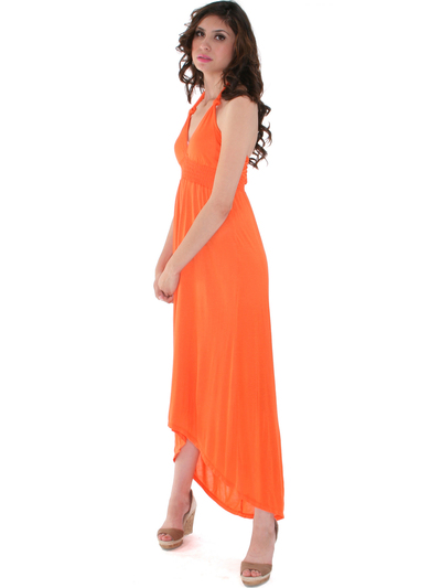 1024 Maxi Dress with High Low Hem - Orange, Alt View Medium