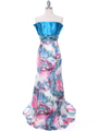 10302 Turquoise Printed Evening Dress - Turquoise, Front View Thumbnail